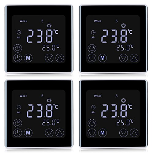 51tyOVgNb+L - 4x Floureon Raumthermostat BYC17.GH3 Thermostat LCD Touchscreen Mit weißer Hintergrundbeleuchtung Wandthermostat Digital Smart Programmierbares Heizkörper-Thermostat Fußbodenheizung Wasserheizung
