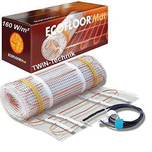 61DWkqAhvJL - ECOFLOOR® Fußbodenheizung elektrisch 160 Watt/m² Größe wählbar 1- 12m² Fußboden-Heizmatte Twin (1.5 m² = 3m Länge)