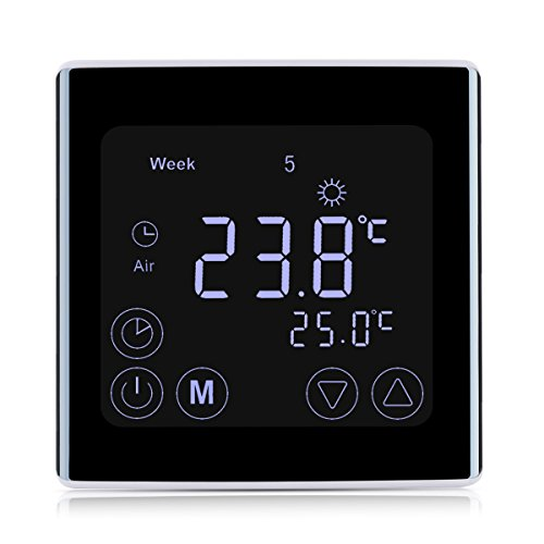 Floureon Raumthermostat Touchscreen Thermostat LCD Display Wandthermostat BYC17.GH3 mit Weiß Backlight Digital Smart Programmierbares Heizkörper-Thermostat Fußbodenheizung Wasserheizung Wandheizung Heizung