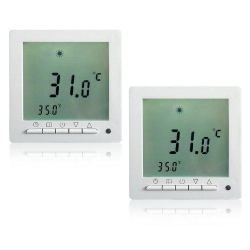 2 Stück Heizzentrale Thermostat Dispaly Digital Raumthermostat LCD Screen Fußbodenheizung programmierbar Thermostat Heating Room