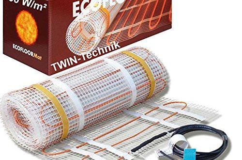 4 m/² = 8 m L/änge ECOFLOOR/® Fu/ßbodenheizung elektrisch 160 Watt//m/² Gr/ö/ße w/ählbar 1-12m/² Fu/ßboden-Heizmatte Twin