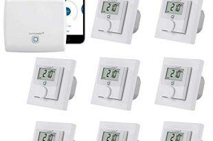 Homematic IP Fußbodenheizung-Steuerung zur Einzelraumregelung in 8 Räumen   Zentrale und 8 programmierbare Thermostate mit Stellantrieb-Schaltausgang. Mit App für Tablet und Smartphone.