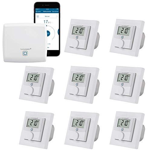 Homematic IP Fußbodenheizung-Steuerung zur Einzelraumregelung in 8 Räumen | Zentrale und 8 programmierbare Thermostate mit Stellantrieb-Schaltausgang. Mit App für Tablet und Smartphone.